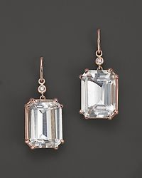 Lisa Nik | Metallic 18k Rose Gold Octagon Quartz And Diamond Earrings | Lyst