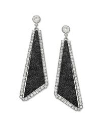 Material Girl - Silvertone Black Glitter and Crystal Rhinestone Triangle Drop Earrings - Lyst