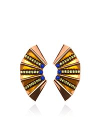 Nicole Romano | Metallic Gold Fan Earring | Lyst