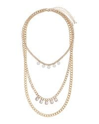 TOPSHOP - Pink Stone Curb Chain Multi Row Necklace - Lyst
