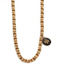 Tory Burch | Woven Metallic Leather Chain Logo Necklace | Lyst