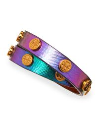 Tory Burch | Logostudded Snakeembossed Wrap Bracelet Greeniridescent | Lyst