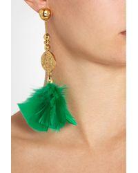 Aurelie Bidermann - Green Cities D'Or Gold-Plated Feather Clip Earrings - Lyst