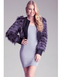 Bebe - Purple Shaggy Crop Jacket - Lyst