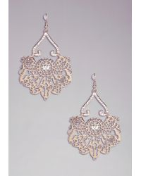 Bebe | Metallic Filigree Statement Earring | Lyst