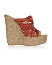 Christian Louboutin | Red Trompe Loeil Raffia Wedge Sandals | Lyst