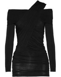 Donna Karan - Black Draped Jersey Top - Lyst