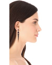 Elizabeth and James | Blue Chrysler Pave Triangle Earrings - Lapis | Lyst