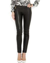 Emilio Pucci - Black Stretch-Leather Legging-Style Pants - Lyst