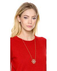 Juicy Couture - Metallic Pave Lattice Round Pendant Necklace - Lyst