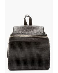 Kara | Black Pebbled Leather and Doubled Mesh Backpack | Lyst