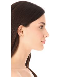 kate spade new york - Metallic Skinny Mini Pave Bow Stud Earrings - Lyst