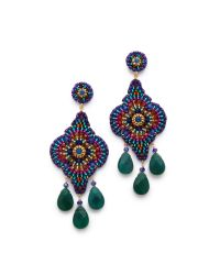 Miguel Ases - Green Triple Gem Drop Earrings - Lyst