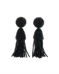 Oscar de la Renta - Black Short Beaded Tassel Clip-on Earrings - Lyst