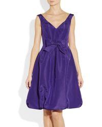 Oscar de la Renta - Purple Bow Embellished Silk Faille Dress - Lyst