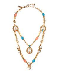 Oscar de la Renta - Yellow Cabochon Pearlescent Necklace - Lyst