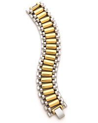 Rachel Zoe - Metallic Two Tone Narrow Watchband Bracelet - Lyst