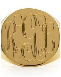 Sarah Chloe   Metallic Gold Lana Round Signet Ring   Lyst