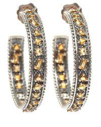Stephen Dweck | Metallic Silver Yellow Quartz Hoop Earrings | Lyst