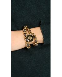 Tory Burch - Black Metallic Leather Chain Double Wrap Bracelet - Lyst