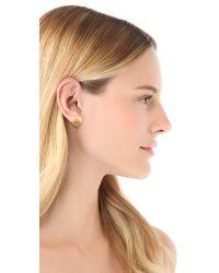 Tory Burch | Metallic Tilsim Logo Heart Stud Earrings | Lyst
