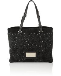 Valentino - Black Lace Print Bag - Lyst