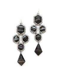 Alexis Bittar - Pave Chandelier Black Agate Earrings - Lyst