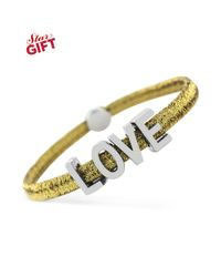 BCBGeneration - Silvertone Love and Gold Metallic Stretch Affirmation Bracelet - Lyst