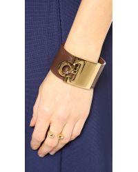 Ferragamo - Brown Wide Gancio Cuff Bracelet - Acero - Lyst