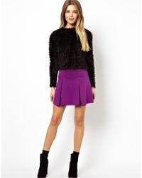 ASOS - Purple Box Pleat Skater Skirt In Ponte - Lyst