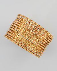Chamak by Priya Kakkar | Metallic Set Of 12 Thin Scored Glitter Bangles Orangegold | Lyst