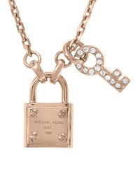 Michael Kors - Metallic Lock Key Pendant Necklace Rose Golden - Lyst