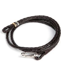 Paul Smith - Brown Leather Wrap Bracelet for Men - Lyst