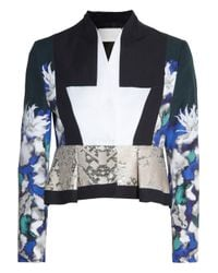 Peter Pilotto   Blue F Printed Cotton-Blend Jacket   Lyst