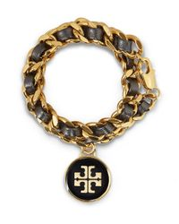 Tory Burch - Metallic Leather and Chain Double Wrap Bracelet - Lyst