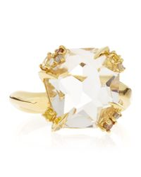 Alexis Bittar Fine | Metallic 18K Gold Diamond-Prong Ice Quartz Ring | Lyst