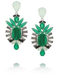 Elizabeth Cole - Green Hematiteplated Swarovski Crystal Earrings - Lyst