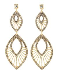 Fragments - Metallic Tiered Oblong Pave Earrings Golden - Lyst