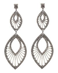 Fragments - Black Tiered Oblong Pave Earrings Hematite - Lyst
