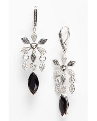 Judith Jack | Black Frosted Glaze Chandelier Earrings | Lyst