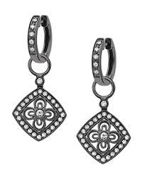 KC Designs - Metallic Diamond Mini Drop Earrings Black Rhodium - Lyst