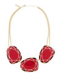 Kendra Scott - Marcella Threestone Necklace Red - Lyst