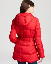 Marc New York - Red Down Coat with Hood - Lyst