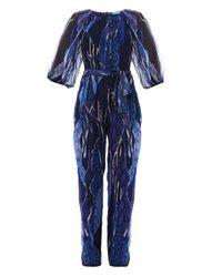 Matthew Williamson Escape | Black Exotic Skin Camo-Print Silk Jumpsuit | Lyst