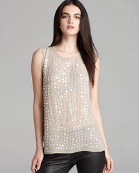 Nicole Miller Artelier | White Sleeveless Iridescent Sequin Top | Lyst