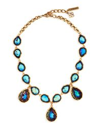 Oscar de la Renta | Blue Large Crystal Teardrop Necklace Indigo | Lyst