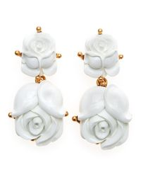 Oscar de la Renta   White Resin Rose Clip Earrings   Lyst
