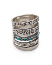 Pamela Love - Green Single Cage Ring With Turquoise - Silver/Turquoise - Lyst