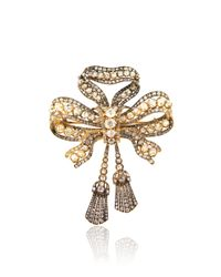 Simon Teakle | Metallic Antique Diamond Bow Brooch | Lyst