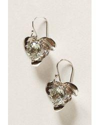 Anthropologie - Metallic Ear Silver Flower Drop - Lyst